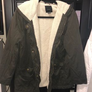 Hunter Green Sherpa Lined Jacket